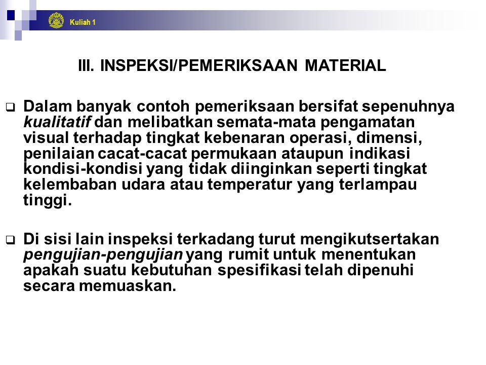 III. INSPEKSI/PEMERIKSAAN MATERIAL