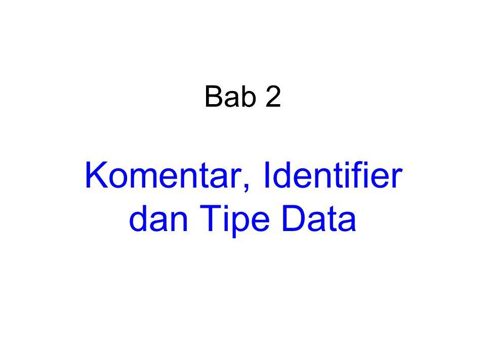 Komentar, Identifier dan Tipe Data