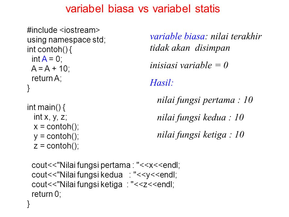 variabel biasa vs variabel statis