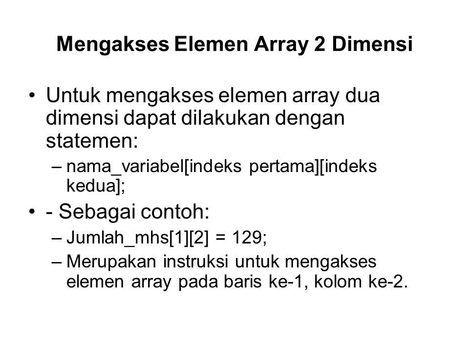 Mengakses Elemen Array 2 Dimensi