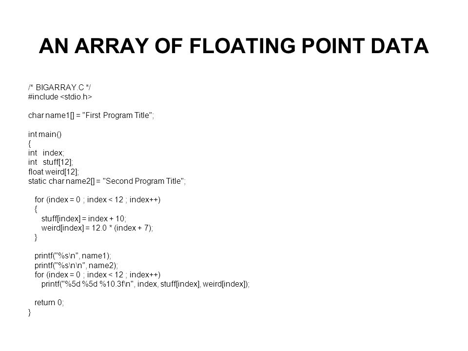 AN ARRAY OF FLOATING POINT DATA