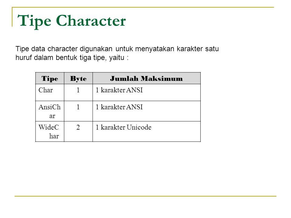 Tipe Character Tipe data character digunakan untuk menyatakan karakter satu huruf dalam bentuk tiga tipe, yaitu :