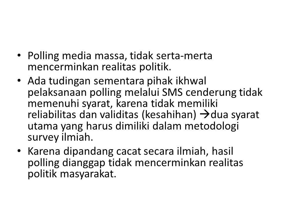 Polling media massa, tidak serta-merta mencerminkan realitas politik.
