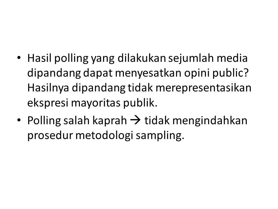 Hasil polling yang dilakukan sejumlah media dipandang dapat menyesatkan opini public Hasilnya dipandang tidak merepresentasikan ekspresi mayoritas publik.