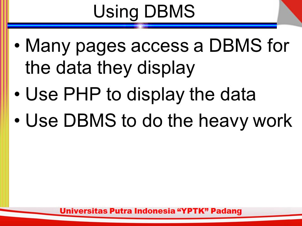 Many pages access a DBMS for the data they display
