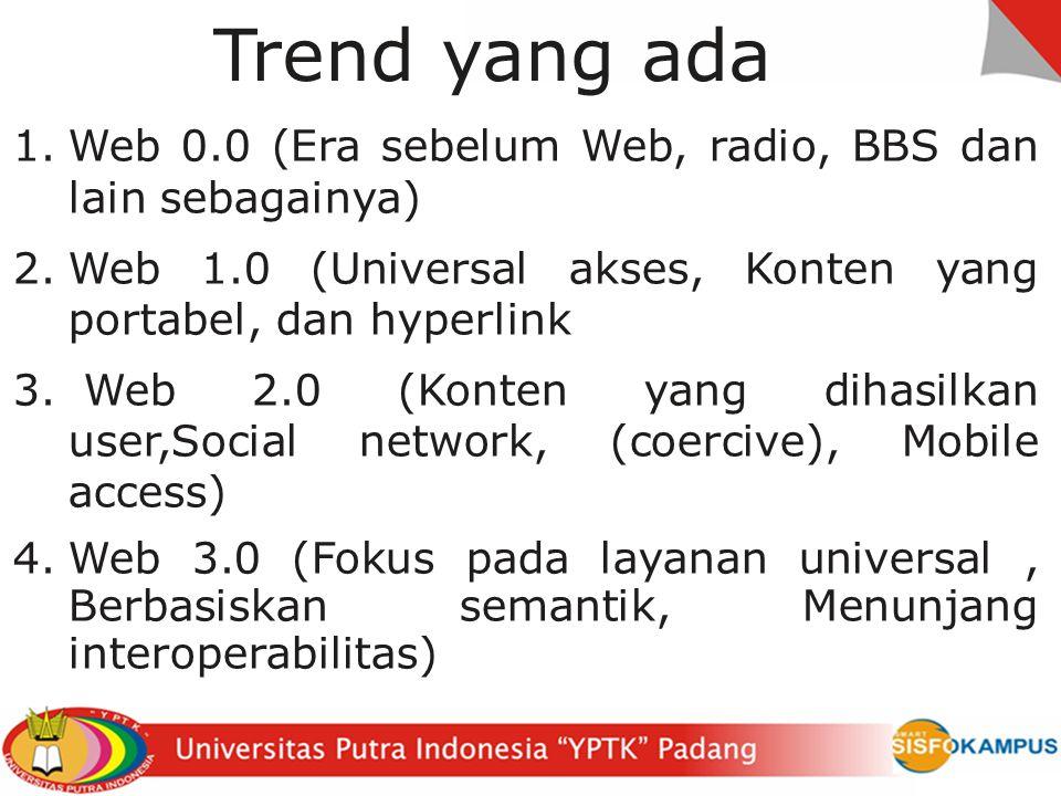 Trend yang ada Web 0.0 (Era sebelum Web, radio, BBS dan lain sebagainya) Web 1.0 (Universal akses, Konten yang portabel, dan hyperlink.