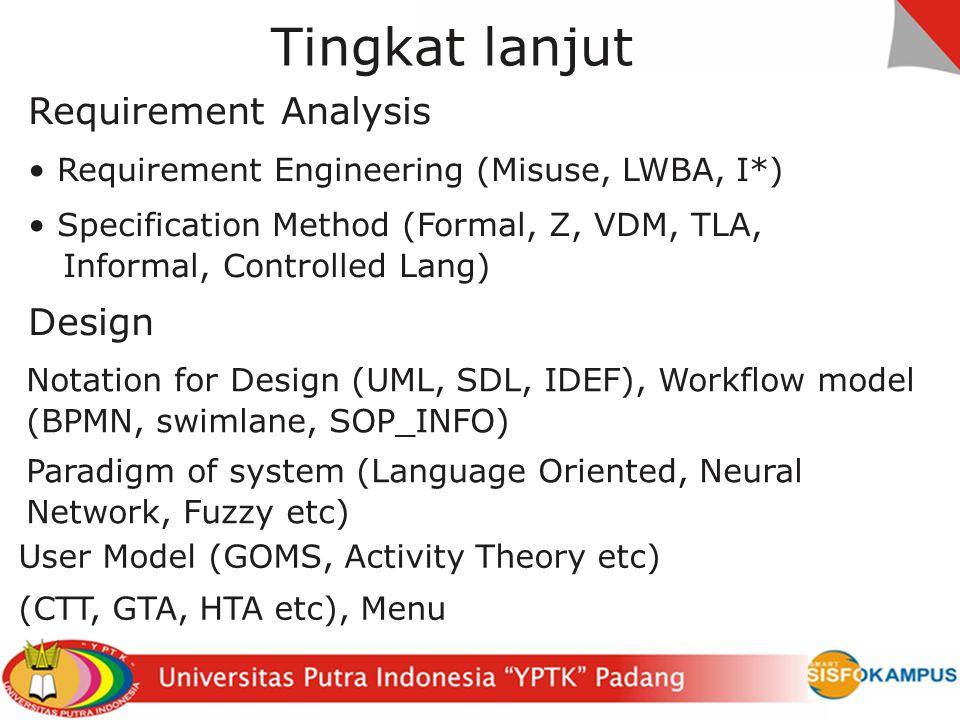 Tingkat lanjut Requirement Analysis Design