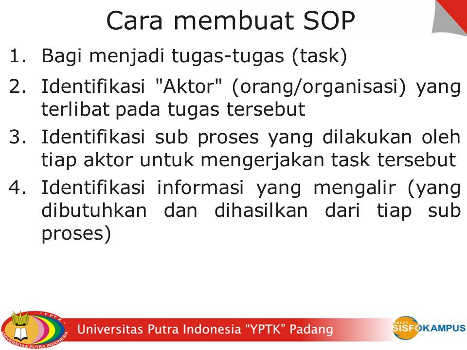 Cara membuat SOP Bagi menjadi tugas-tugas (task)