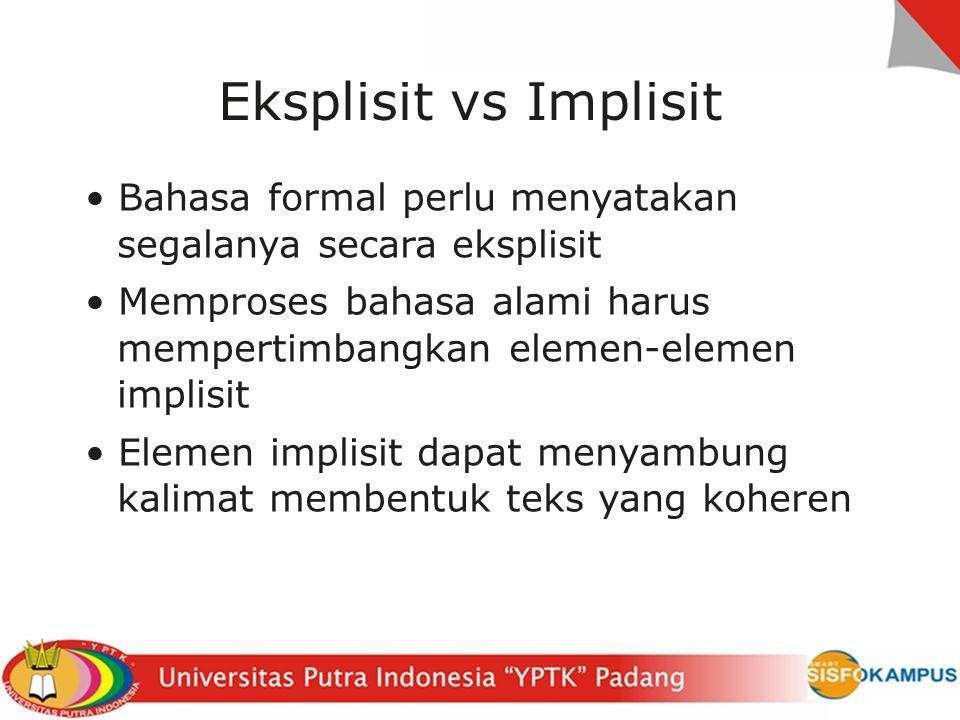 Eksplisit vs Implisit • Bahasa formal perlu menyatakan segalanya secara eksplisit.