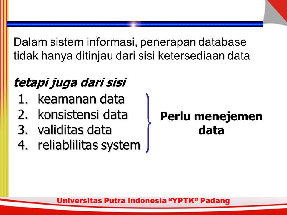 keamanan data konsistensi data validitas data reliablilitas system