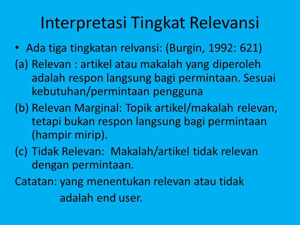 Interpretasi Tingkat Relevansi