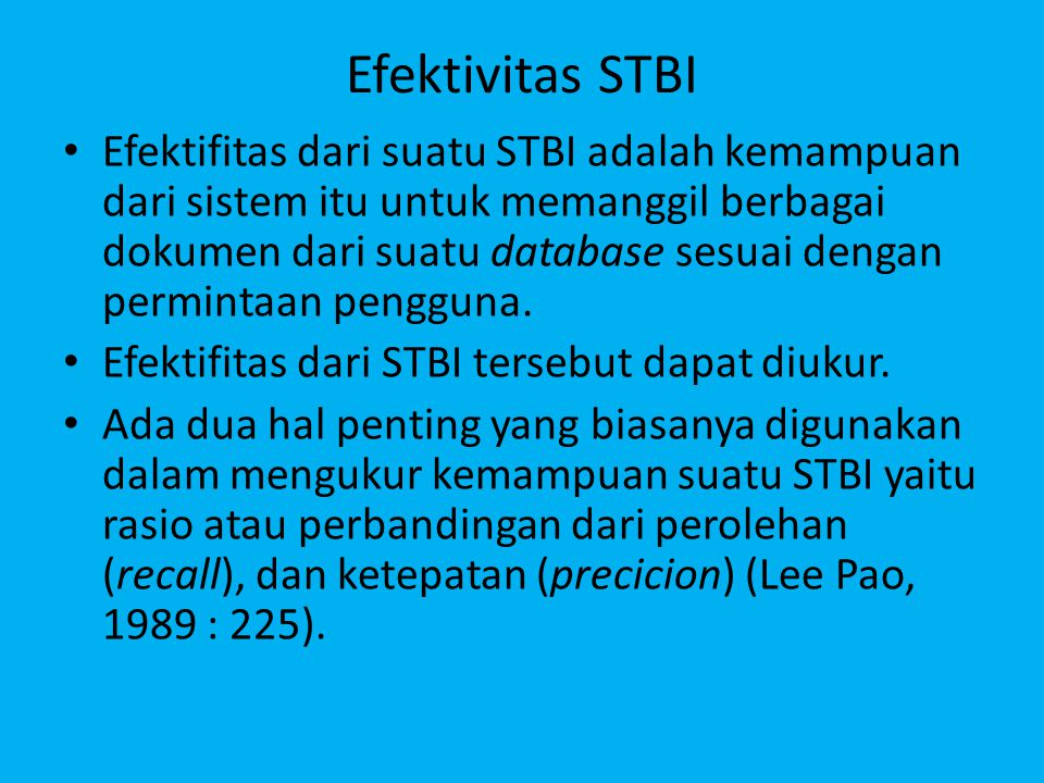 Efektivitas STBI