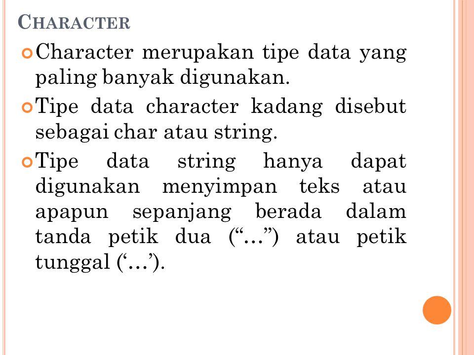 Character merupakan tipe data yang paling banyak digunakan.