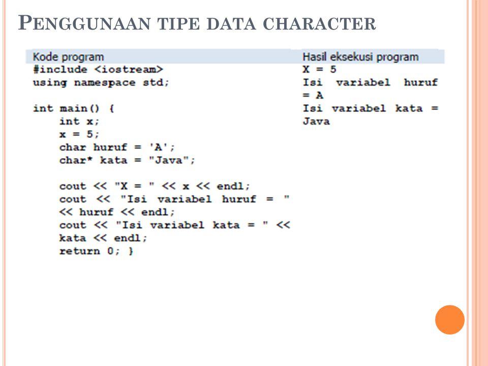 Penggunaan tipe data character