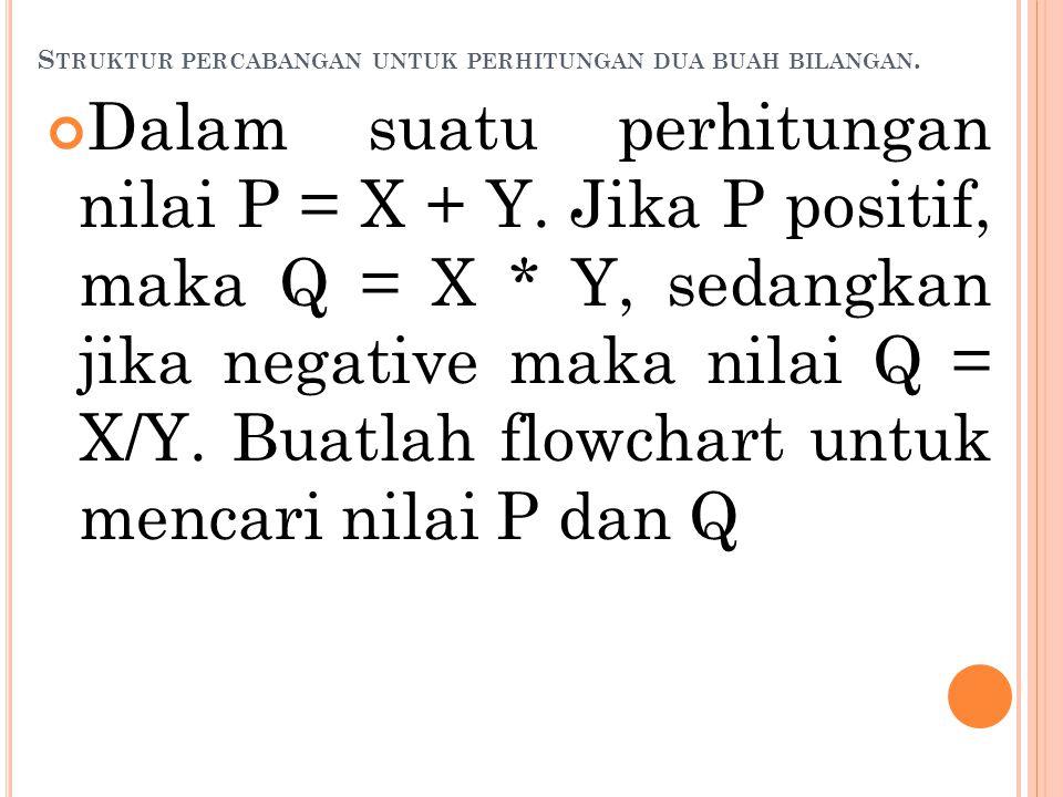 Struktur percabangan untuk perhitungan dua buah bilangan.