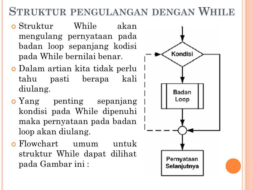 Struktur pengulangan dengan While