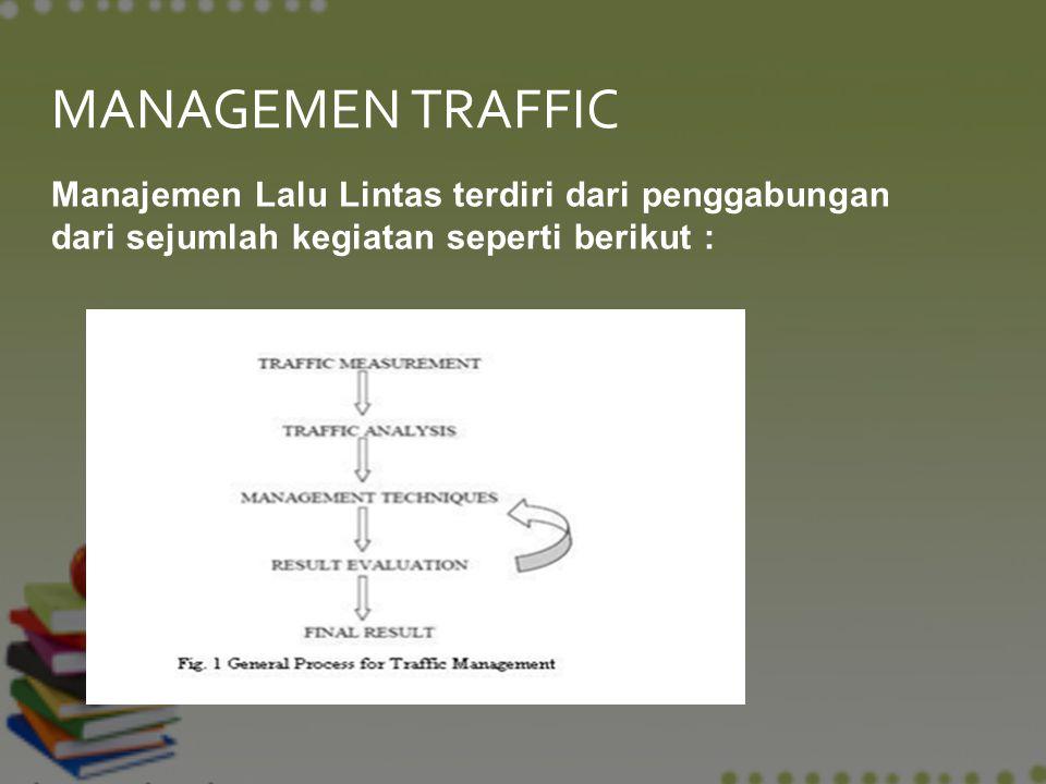 MANAGEMEN TRAFFIC Manajemen Lalu Lintas terdiri dari penggabungan dari sejumlah kegiatan seperti berikut :