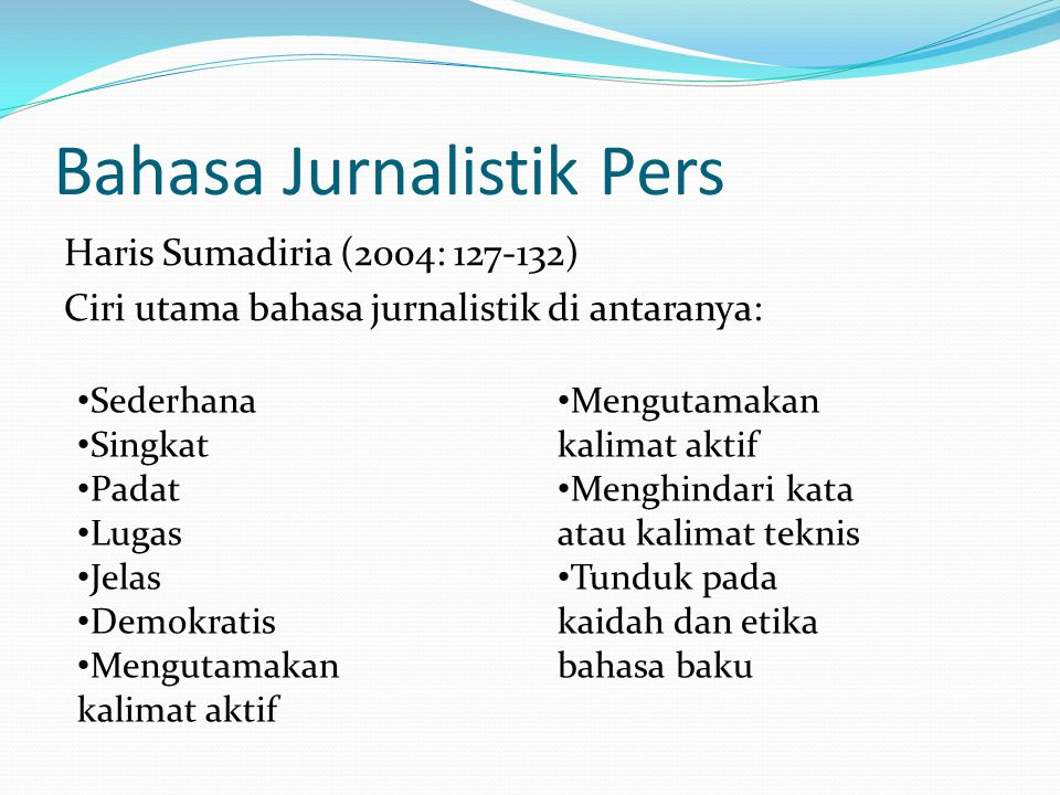 Bahasa Jurnalistik Pers