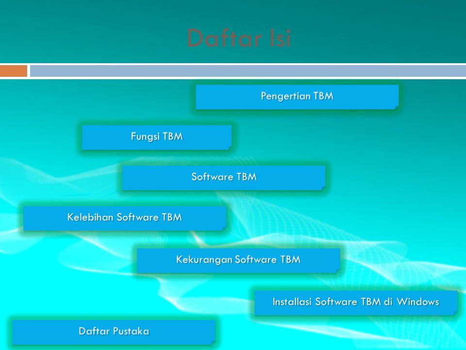 Daftar Isi Pengertian TBM Fungsi TBM Software TBM