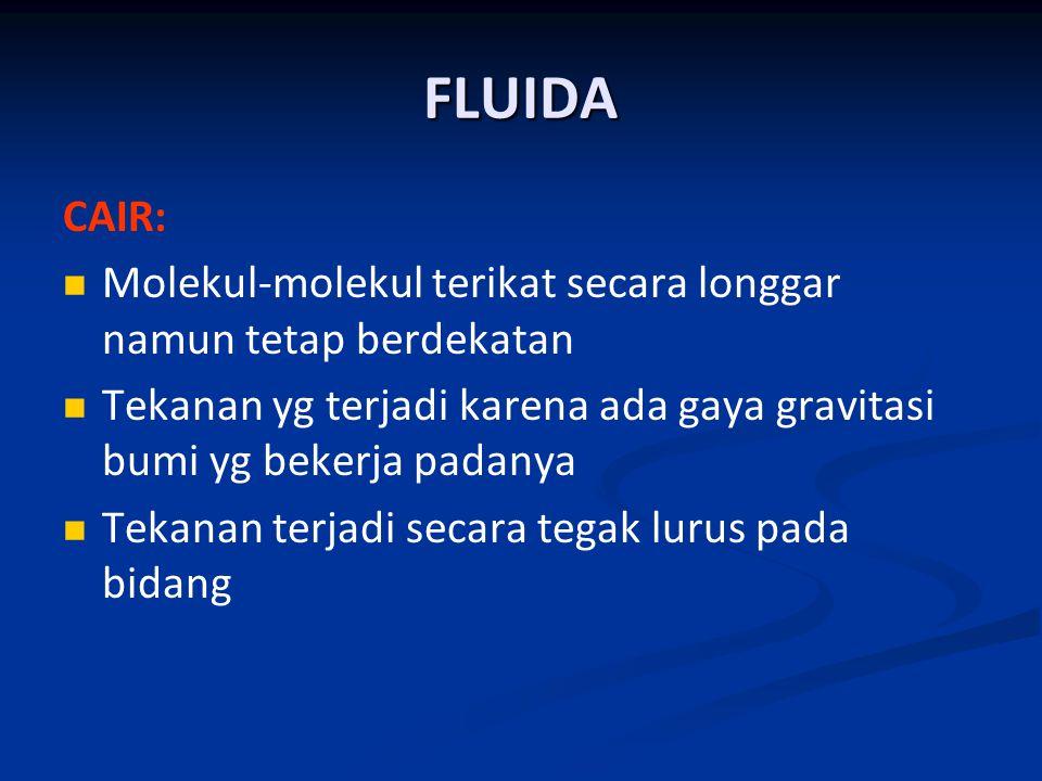 FLUIDA CAIR: Molekul-molekul terikat secara longgar namun tetap berdekatan. Tekanan yg terjadi karena ada gaya gravitasi bumi yg bekerja padanya.
