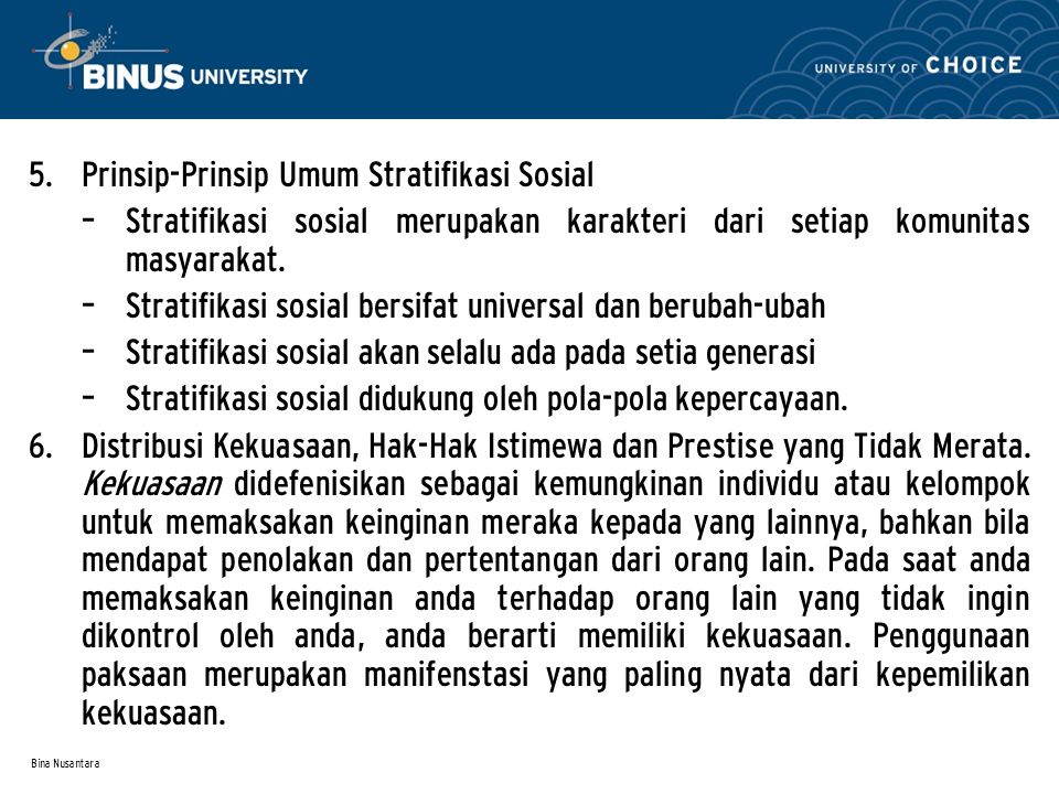 Prinsip-Prinsip Umum Stratifikasi Sosial