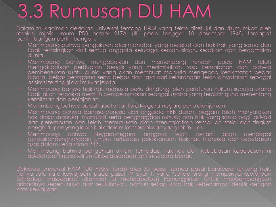 3.3 Rumusan DU HAM