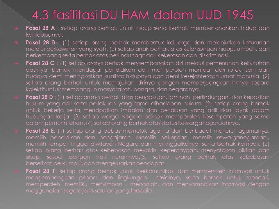4.3 fasilitasi DU HAM dalam UUD 1945