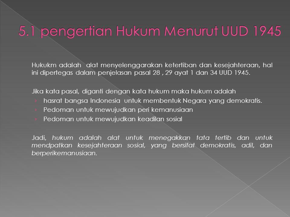 5.1 pengertian Hukum Menurut UUD 1945
