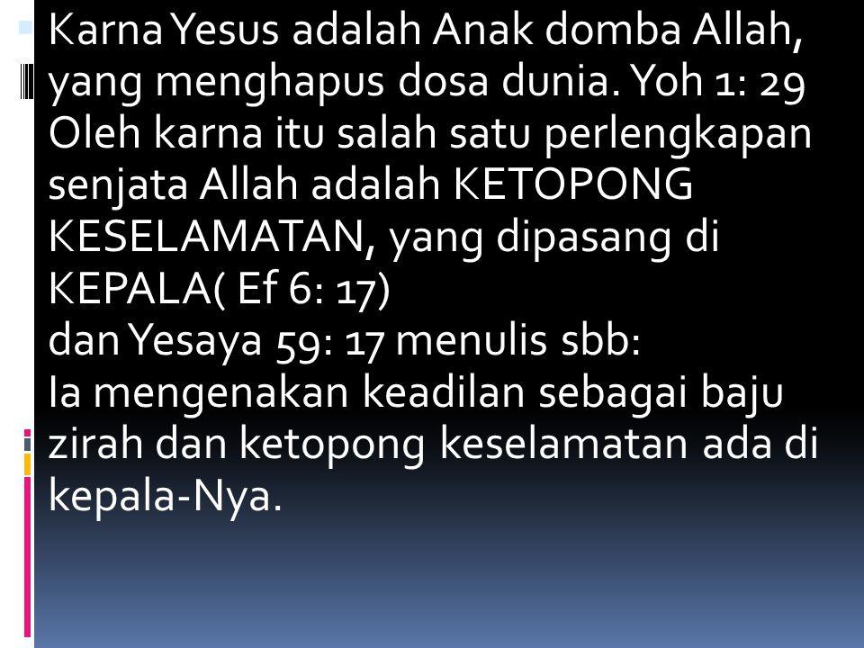 Karna Yesus adalah Anak domba Allah, yang menghapus dosa dunia
