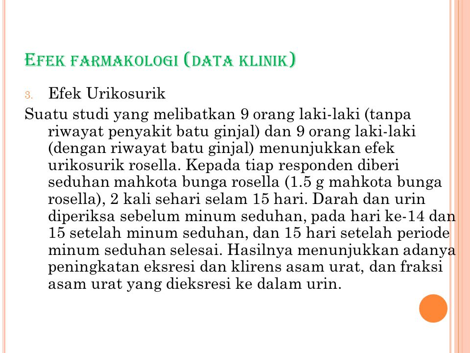Efek farmakologi (data klinik)