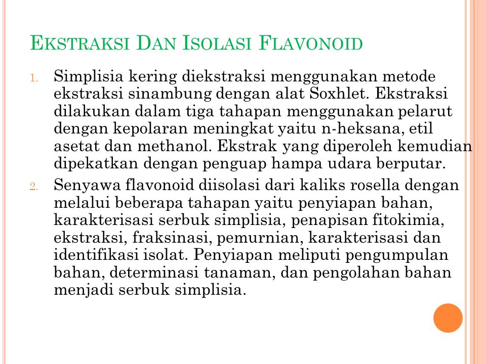 Ekstraksi Dan Isolasi Flavonoid