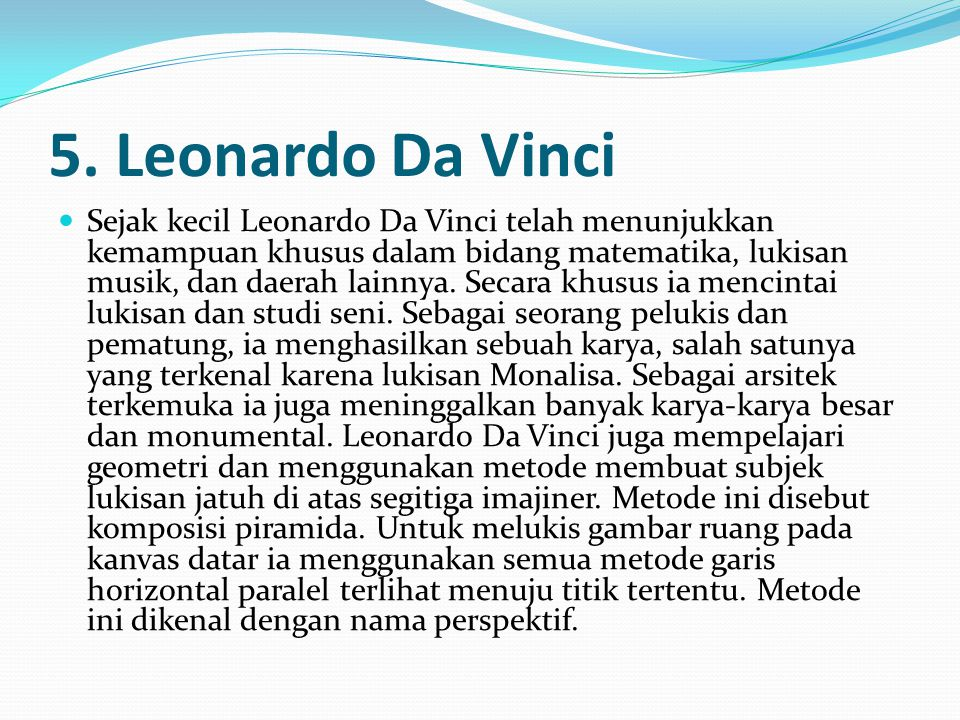 5. Leonardo Da Vinci