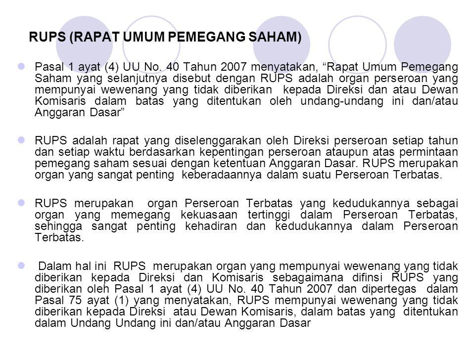 RUPS (RAPAT UMUM PEMEGANG SAHAM)