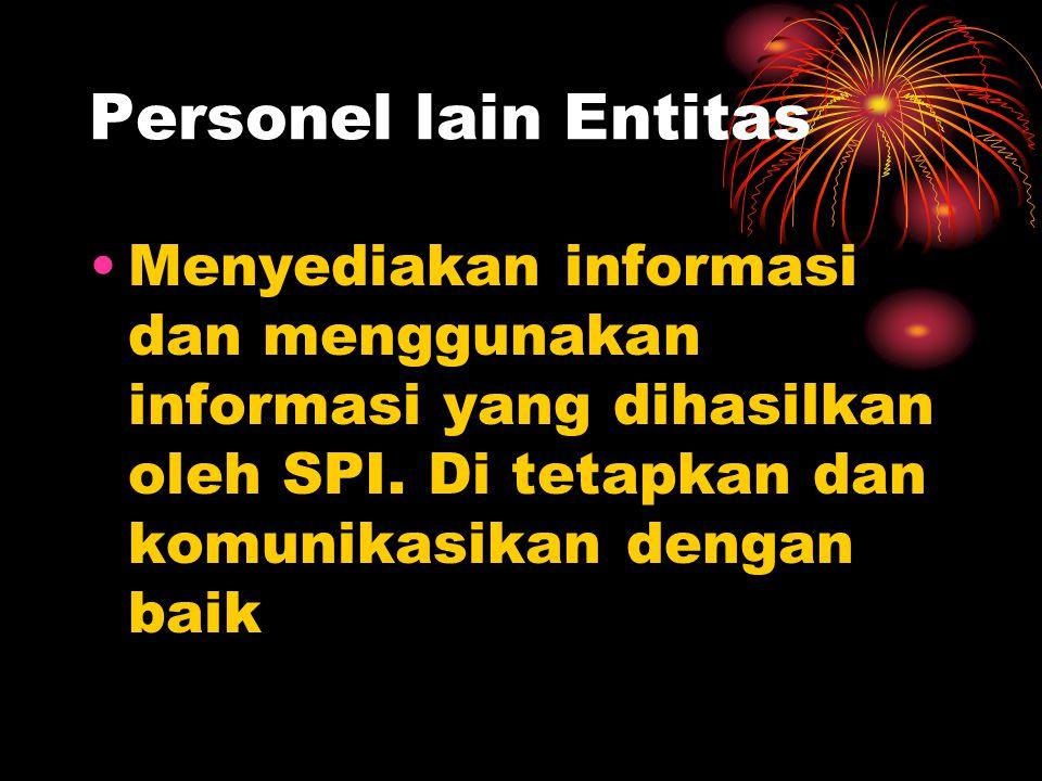 Personel lain Entitas Menyediakan informasi dan menggunakan informasi yang dihasilkan oleh SPI.