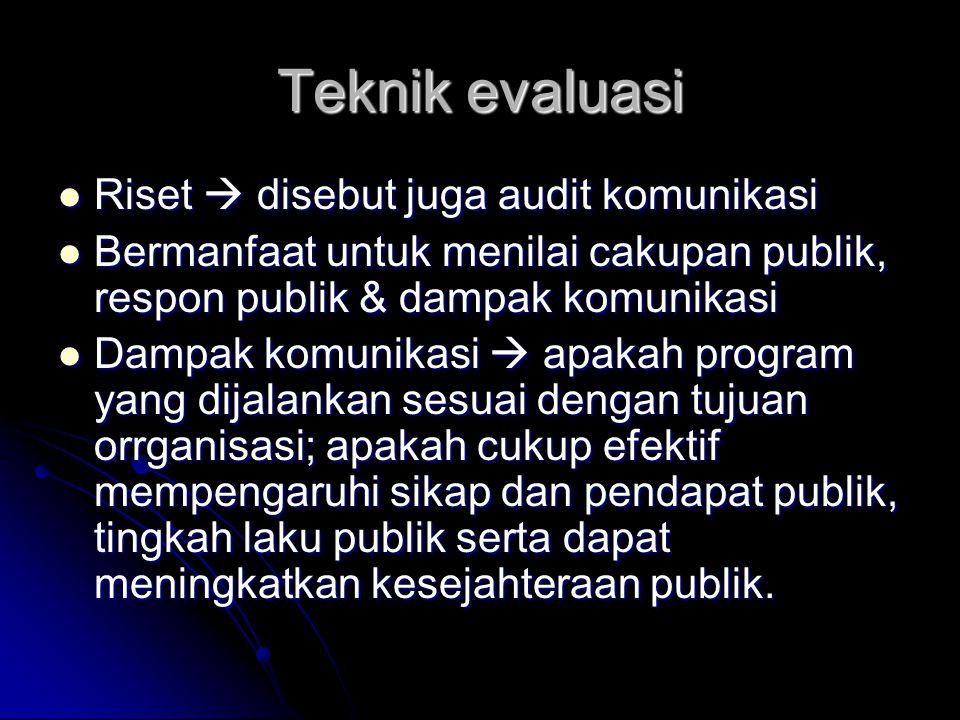 Teknik evaluasi Riset  disebut juga audit komunikasi