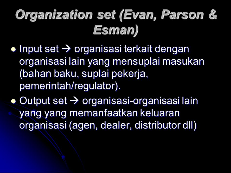 Organization set (Evan, Parson & Esman)