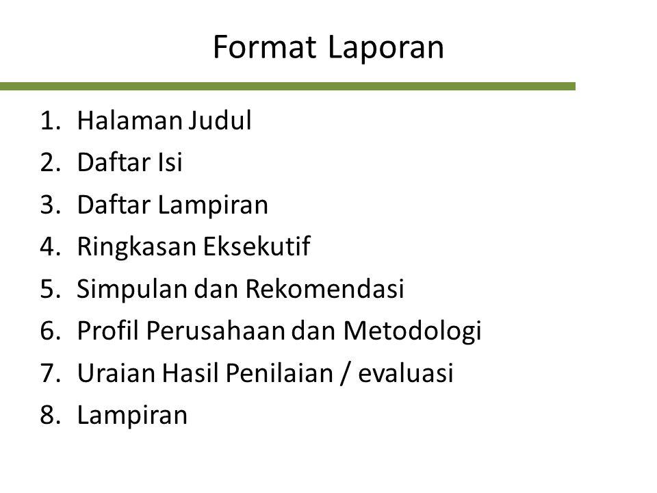 Format Laporan Halaman Judul Daftar Isi Daftar Lampiran