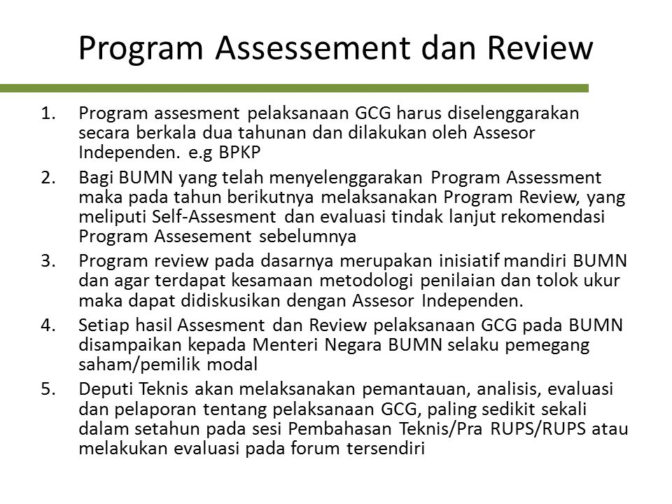 Program Assessement dan Review
