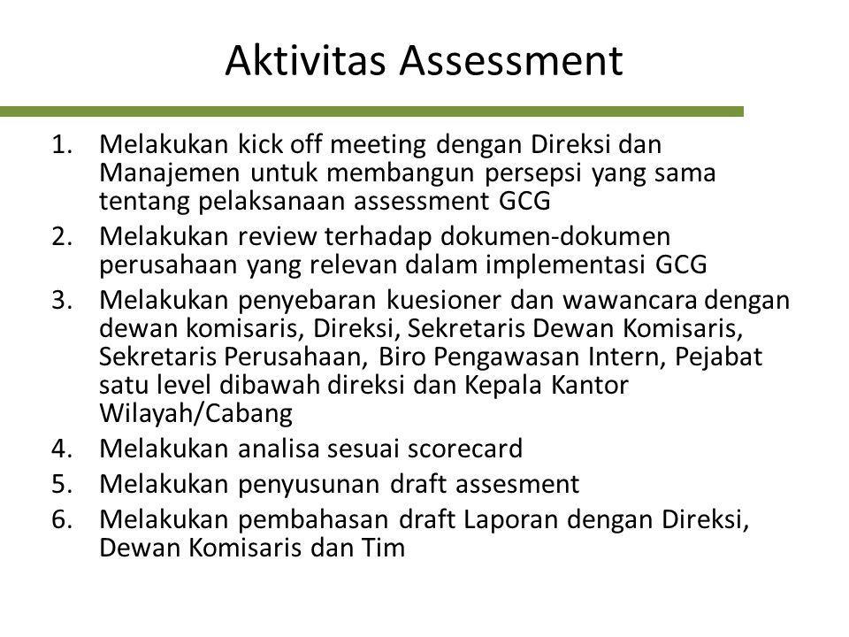 Aktivitas Assessment Melakukan kick off meeting dengan Direksi dan Manajemen untuk membangun persepsi yang sama tentang pelaksanaan assessment GCG.