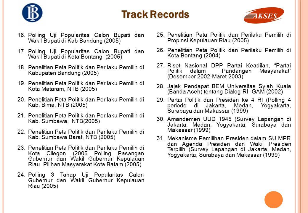 Track Records Penelitian Peta Politik dan Perilaku Pemilih di Propinsi Kepulauan Riau (2005)