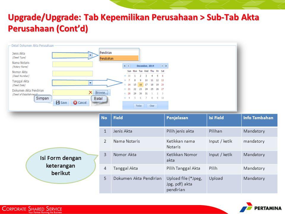 Upgrade/Upgrade: Tab Direksi
