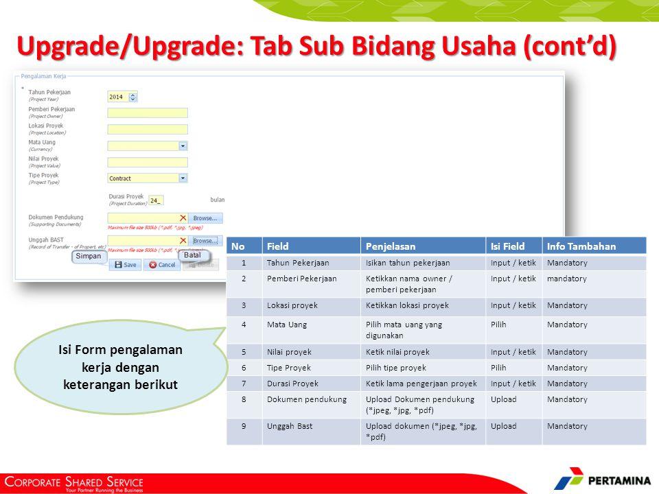 Upgrade/Upgrade: Tab Dokumen Pendukung