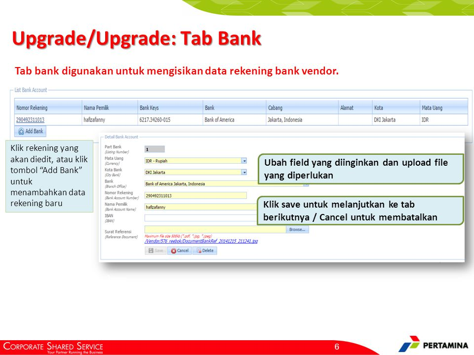 Petunjuk pengisian untuk pembuatan data rekening bank baru