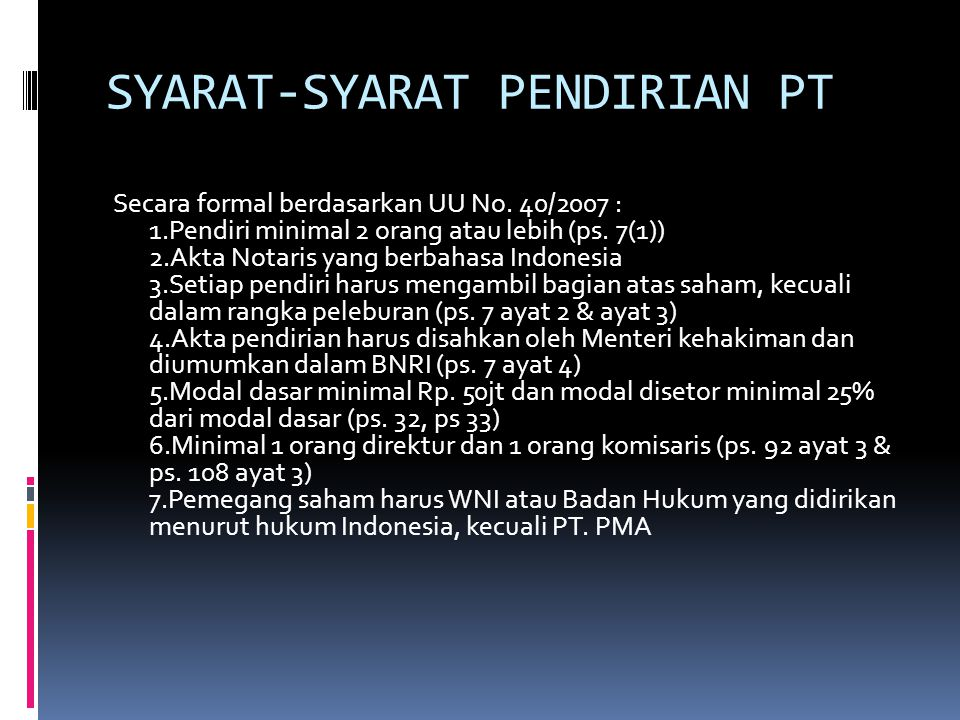 SYARAT-SYARAT PENDIRIAN PT