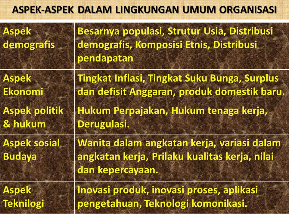 ASPEK-ASPEK DALAM LINGKUNGAN UMUM ORGANISASI