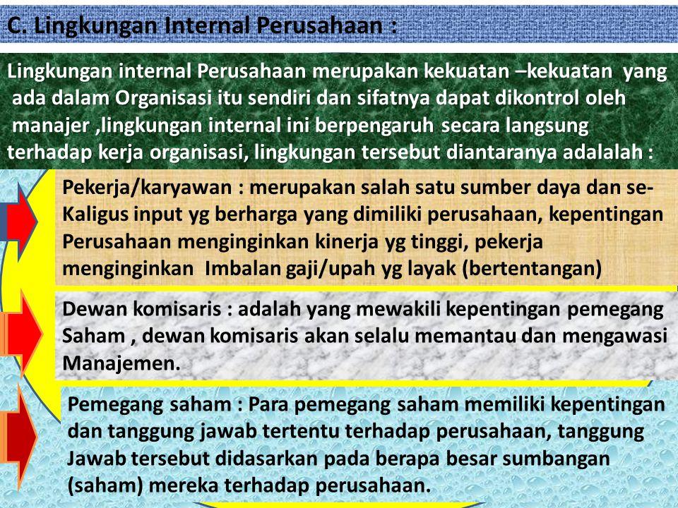 C. Lingkungan Internal Perusahaan :
