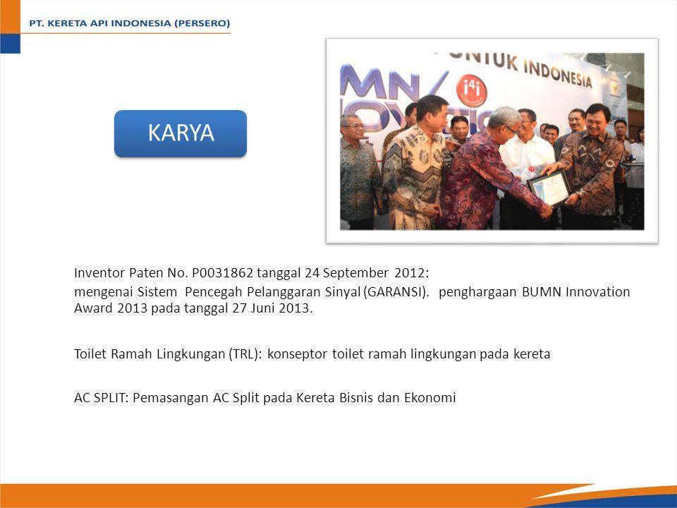 KARYA Inventor Paten No. P0031862 tanggal 24 September 2012: