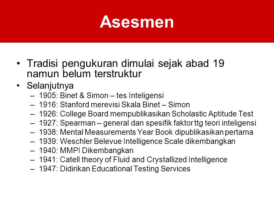 Asesmen Tradisi pengukuran dimulai sejak abad 19 namun belum terstruktur. Selanjutnya. 1905: Binet & Simon – tes Inteligensi.