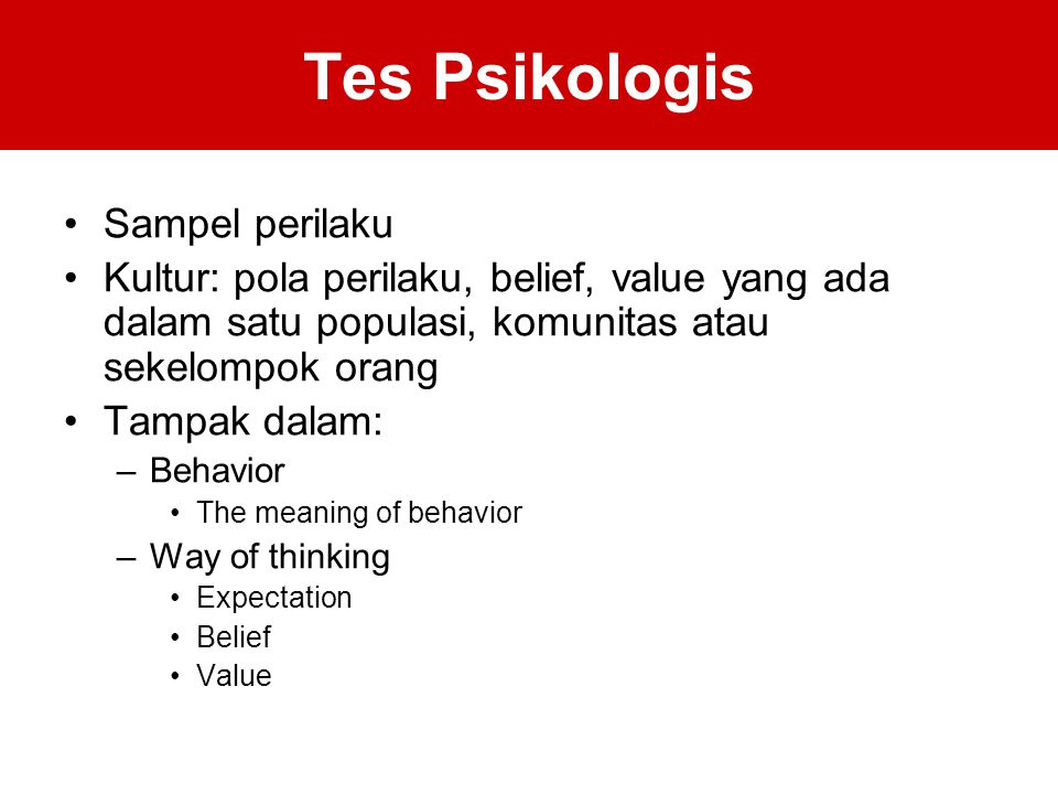 Tes Psikologis Sampel perilaku