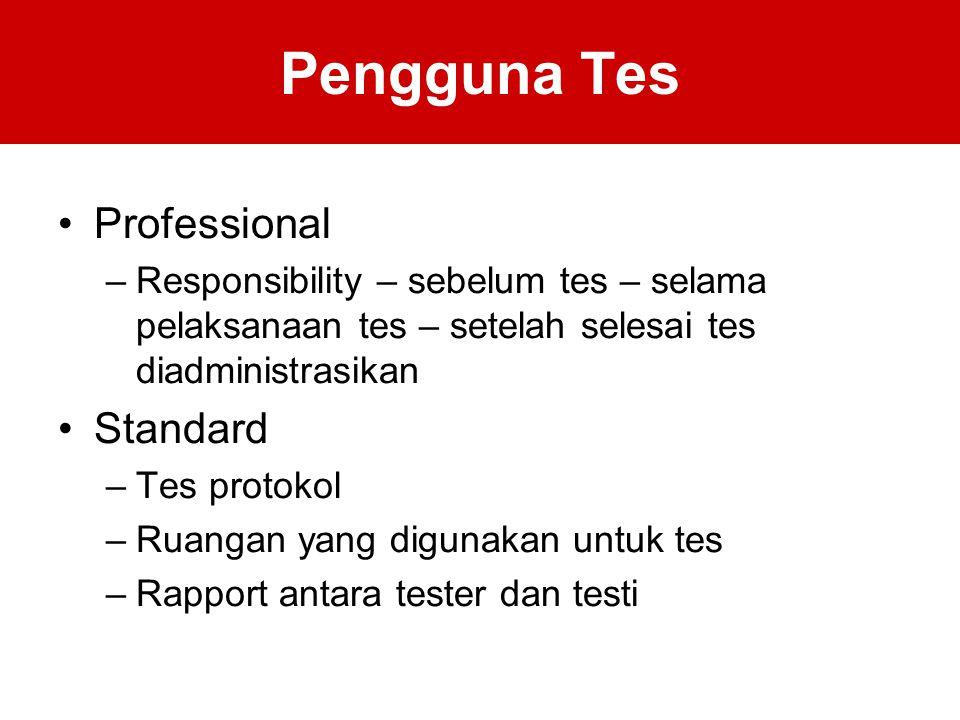 Pengguna Tes Professional Standard